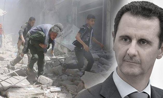 """صورة عندما يلقي رأس النظام خطاب """"النصر"""" في حلب"""