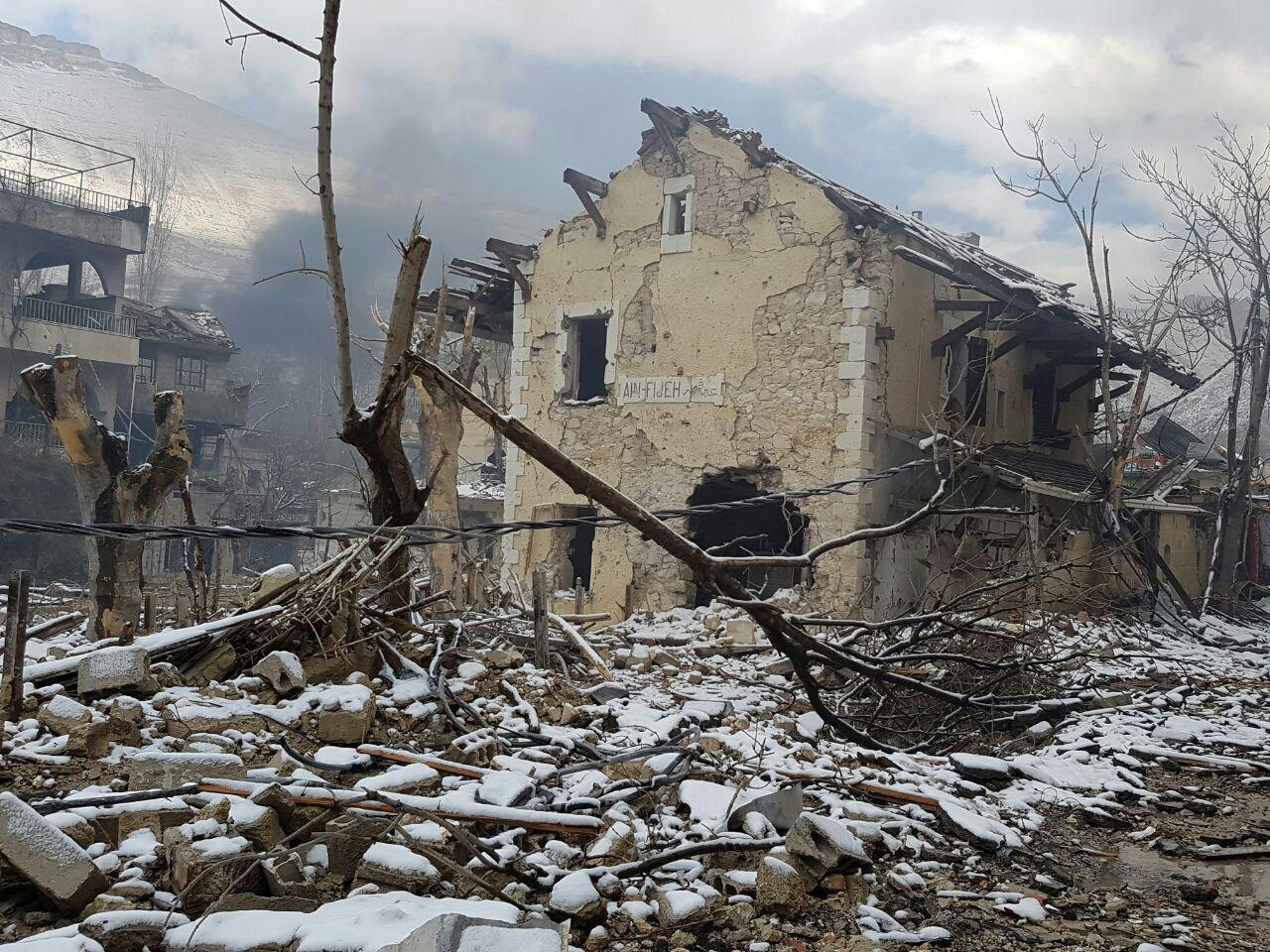 """صورة بالصور.. هكذا دمر الأسد وميليشياته """"عين الفيجة"""""""