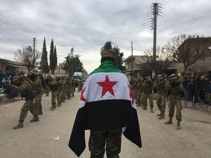 صورة أول صدام عسكري بين الجيش الحر والأسد في الباب