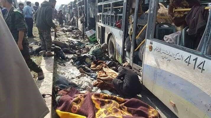 """صورة ناشطون: """"الهلال الأحمر"""" غادر مكان التفجير قبل وقوعه بلحظات"""
