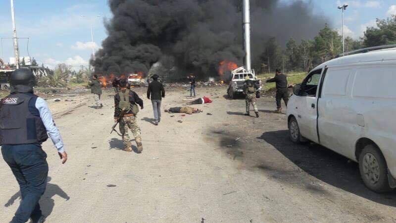 صورة انفجار يودي بحياة العشرات من الثوار وكفريا والفوعة