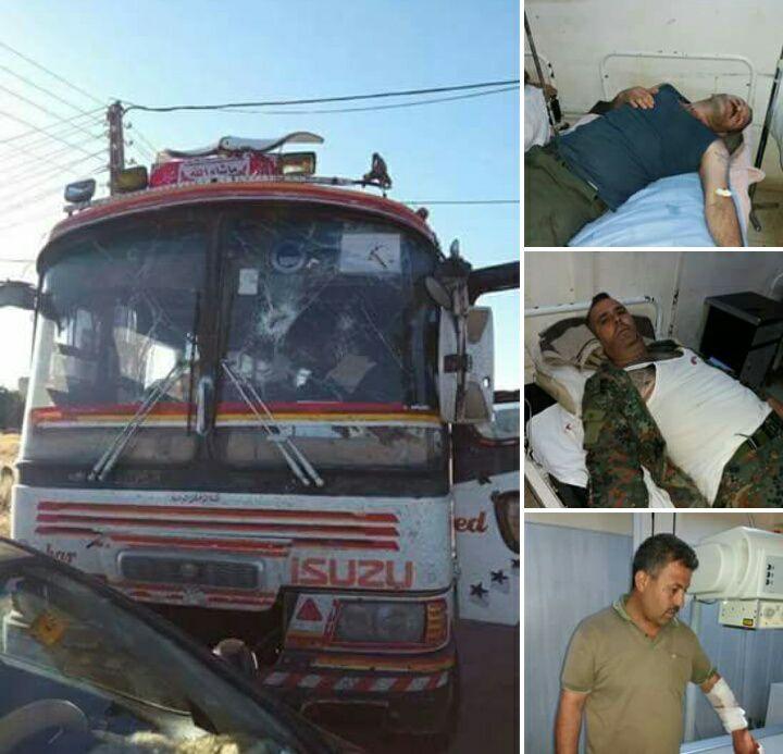 صورة جرحى عسكريون في تفجير حافلة بالسويداء