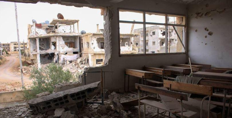 صورة صواريخ الأسد تنهال على مدرسة بدرعا (صور)
