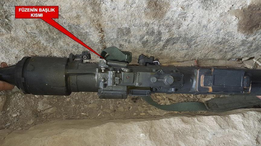 """صورة تركيا تضبط صاروخ مضاد للطائرات يعود لـ """"بي كا كا"""""""
