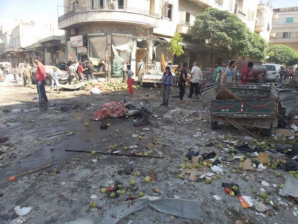 صورة إصابات جراء انفجار عبوة ناسفة في إدلب