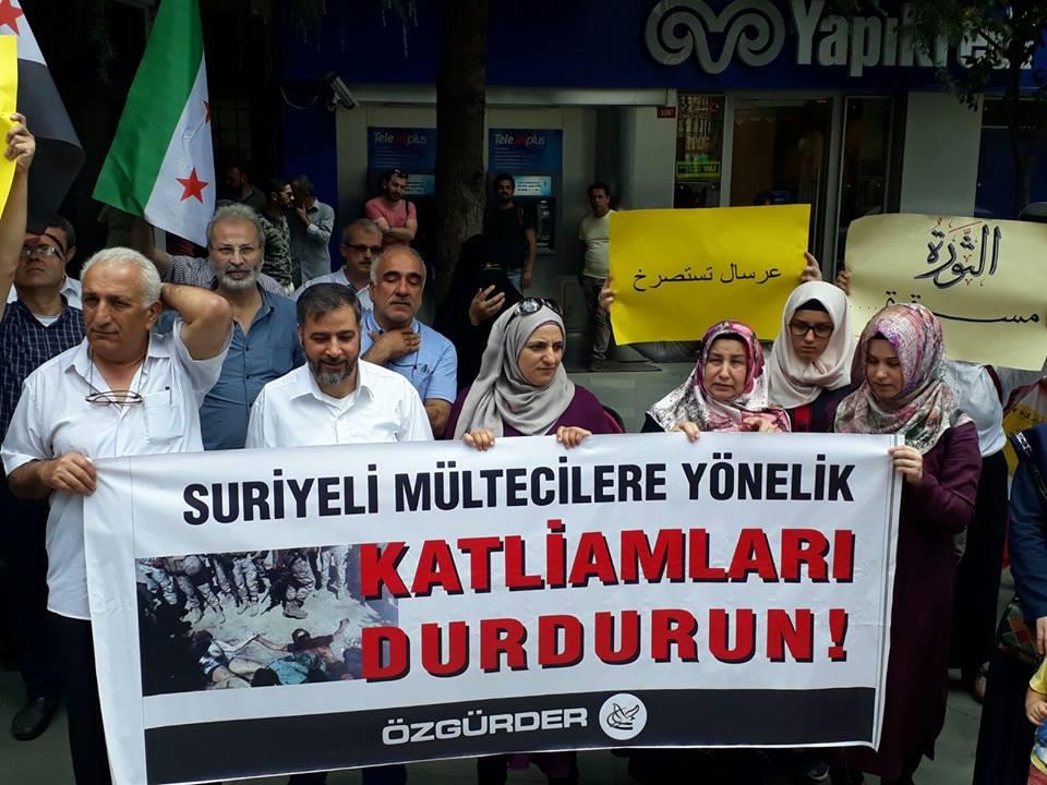 صورة وقفة تضامنية في تركيا مع لاجئي لبنان