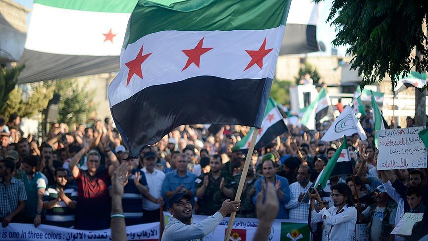 صورة سوريون يطالبون بطرد الميليشيات الكردية من مارع