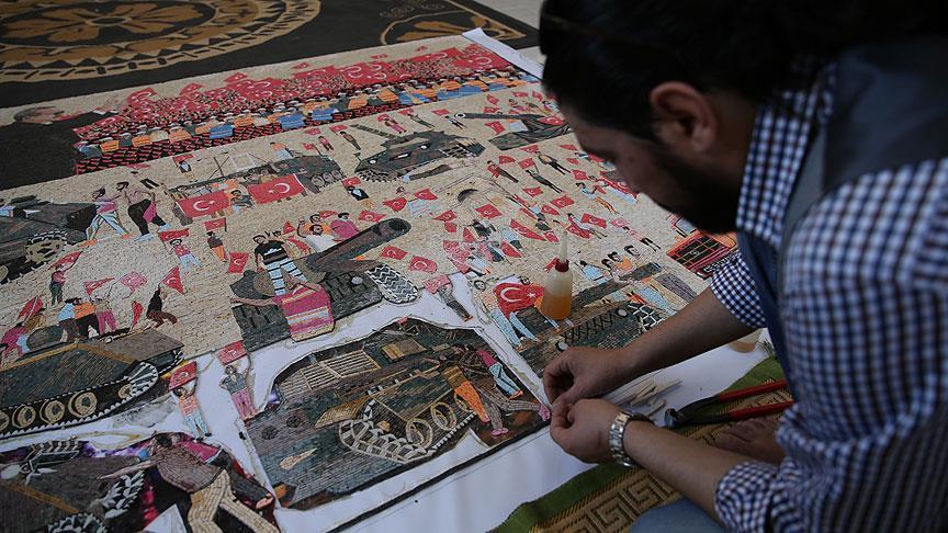 صورة فنان سوري يختصر الانقلاب الفاشل بتركيا عبر لوحة فسيفسائية