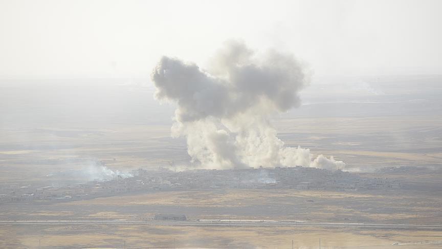 صورة إصابات بهجوم صاروخي للوحدات الكردية على مارع