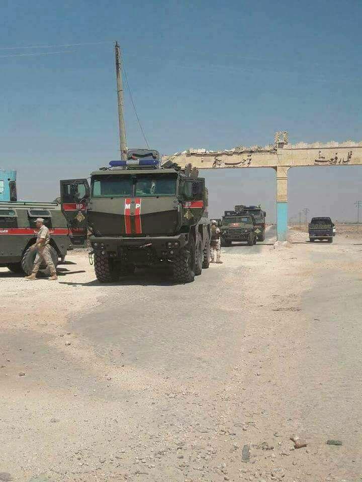 """صورة قوات روسية تدخل """"تل رفعت"""" في حلب"""