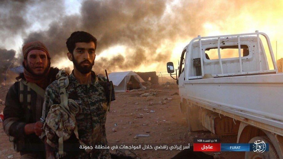 """صورة مقاتل إيراني يقع أسيراً بقبضة تنظيم """"الدولة"""""""