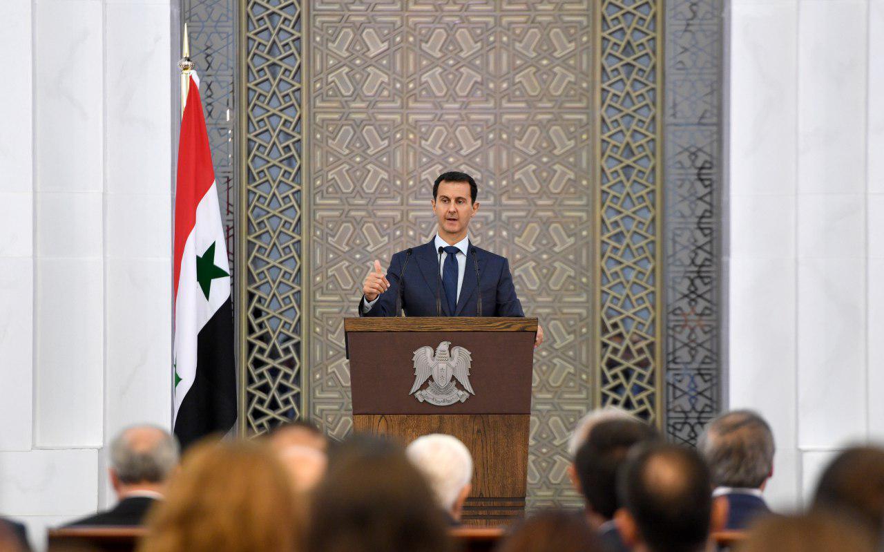صورة الأسد يمتدح أخلاق إيران وروسيا وحزب الله!