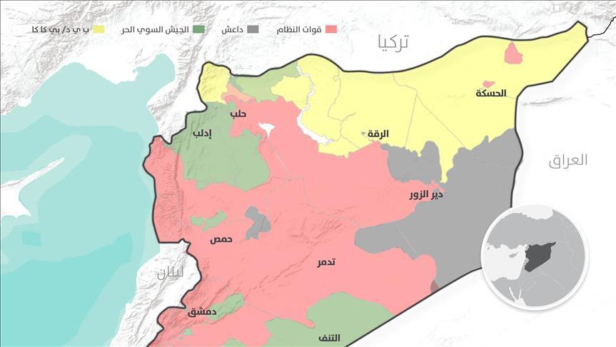 صورة داعش والأكراد يسيطران على 37% من سوريا