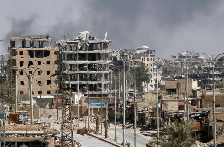 صورة قضاء 45 مدنيا بغارات للتحالف الدولي على الرقة
