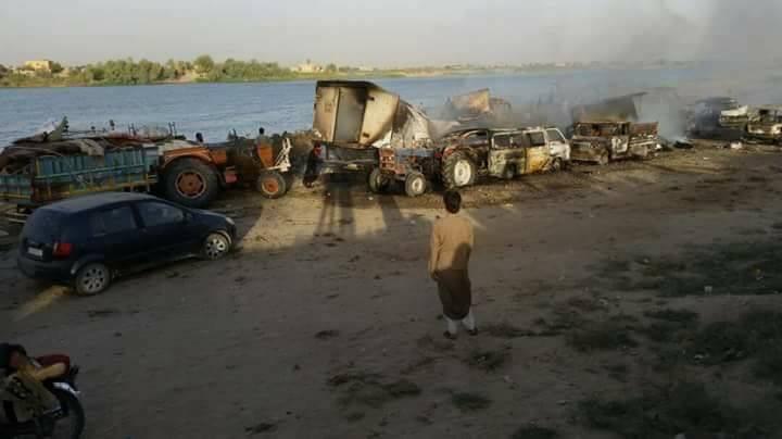 صورة مقتل 35 مدني بدير الزور جراء غارات روسية