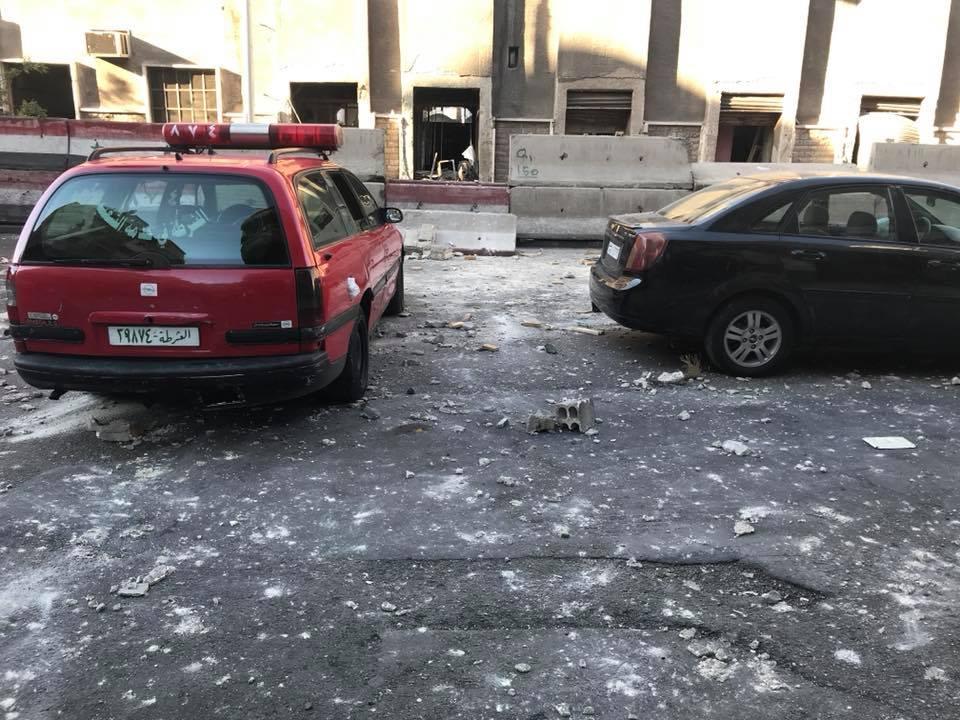 صورة هجوم مزدوج على قسم شرطة دمشق