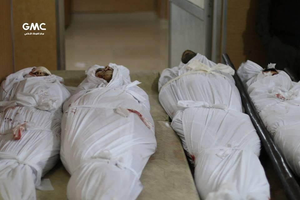 صورة قضاء 5 أطفال بقصف مدفعي للأسد على مدرسة بغوطة دمشق