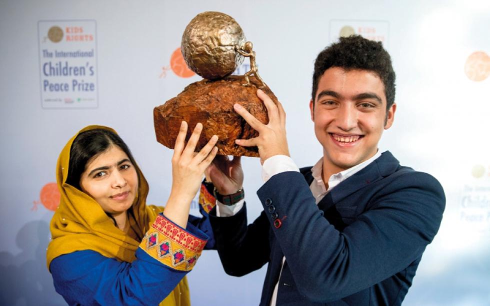 صورة طفل سوري يفوز بجائزة السلام الدولية للأطفال