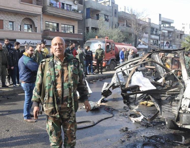 صورة ثمانية قتلى بتفجير حافلة بحمص