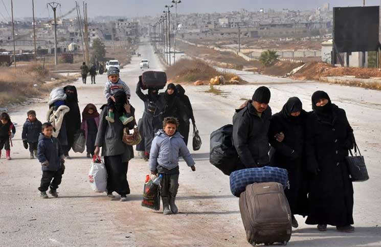 صورة نزوح 5 آلاف عائلة شرق دمشق خلال 20 يوم (توثيق)