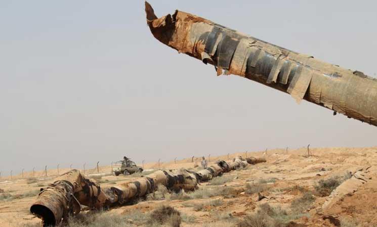 صورة الحدود السورية العراقية..الأردن يحبط مخطط إرهابي عبر أنبوب نفط