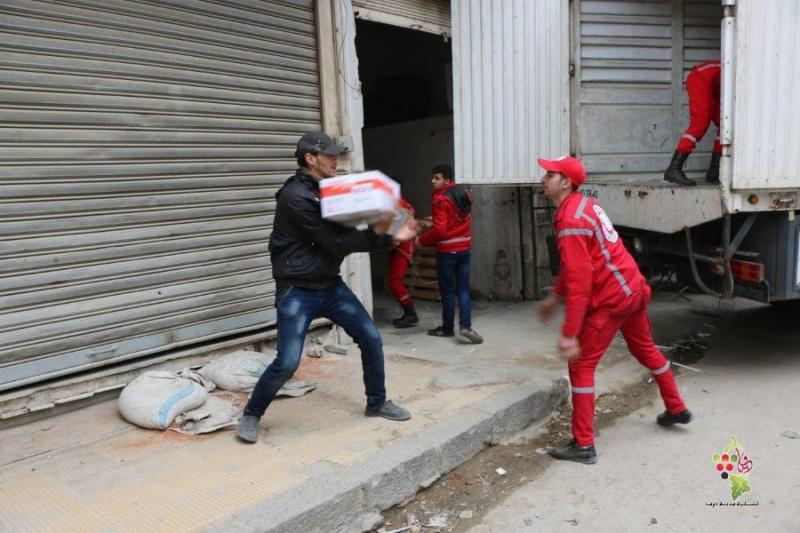 صورة المعارضة: الأسد سمح بدخول قافلة مساعدات للغوطة لخداع العالم