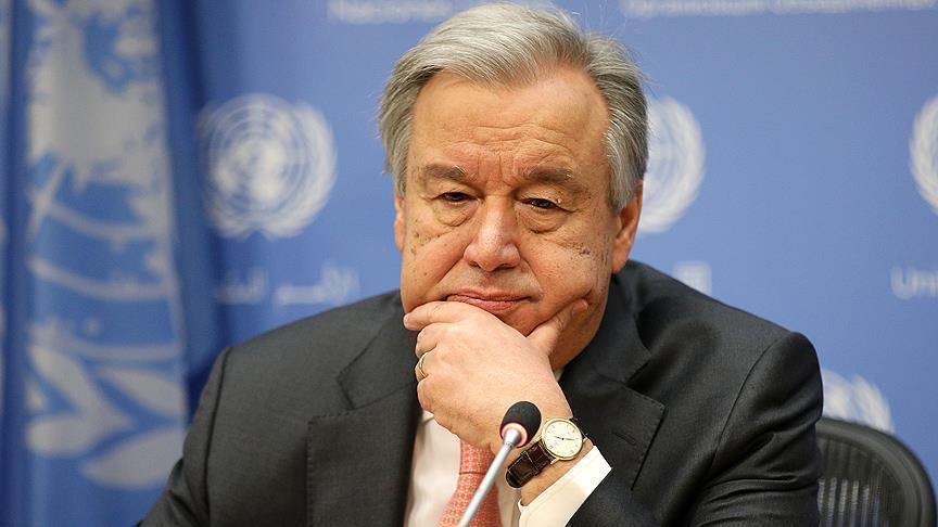 """صورة """"غوتيريش"""" يدعو لتنفيذ قرار الهدنة بسوريا"""