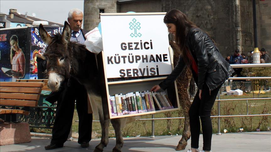 صورة للتشجيع على القراءة..مكتبات متنقلة على عربات تجرها الحمير بتركيا