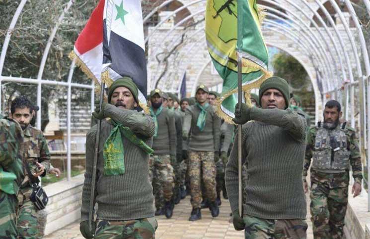 صورة ميليشيات شيعية تدعوا للجهاد بسوريا