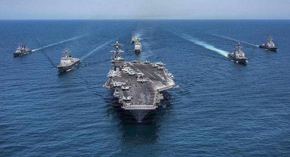 صورة أسطول جوي وبحري أمريكي يقصد سوريا