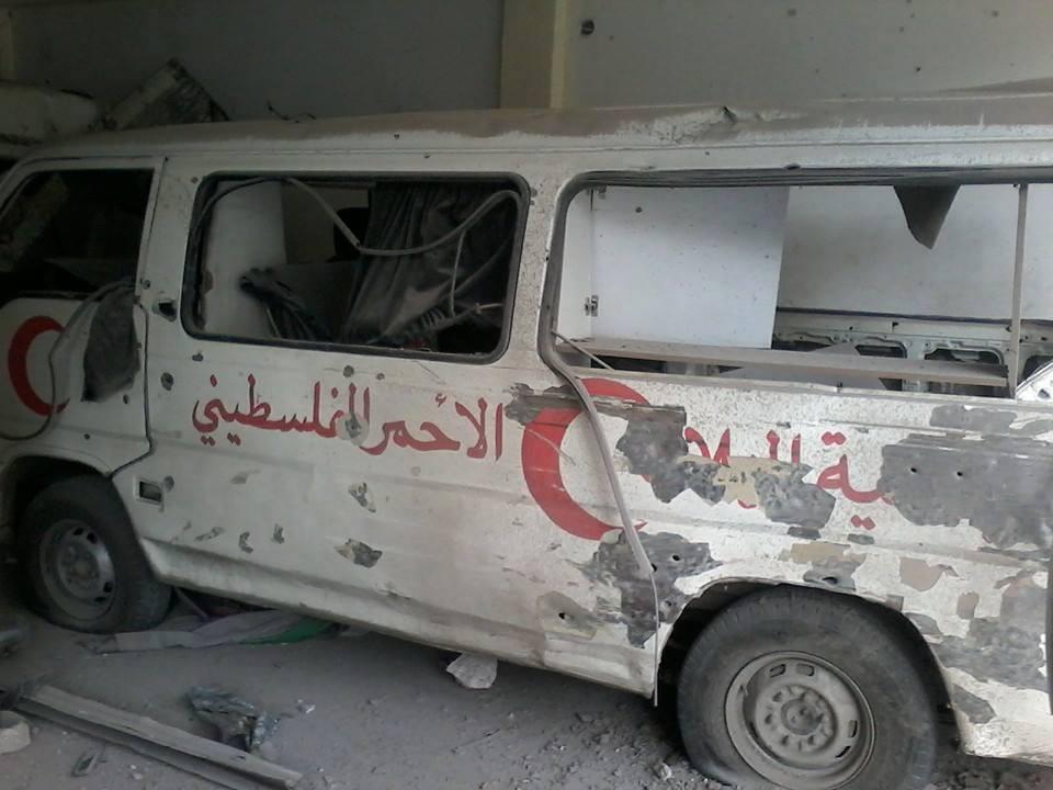 """صورة جنوب دمشق..قوات الأسد تدمر مشفى """"فلسطين"""""""