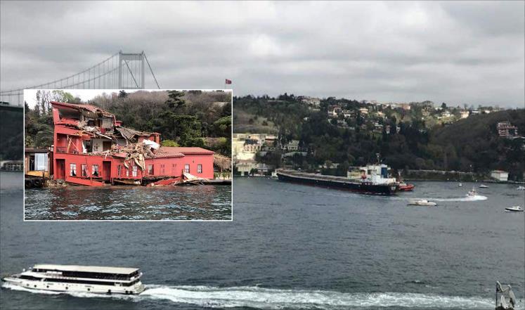 صورة ناقلة نفط تصطدم بقصر تاريخي بإسطنبول