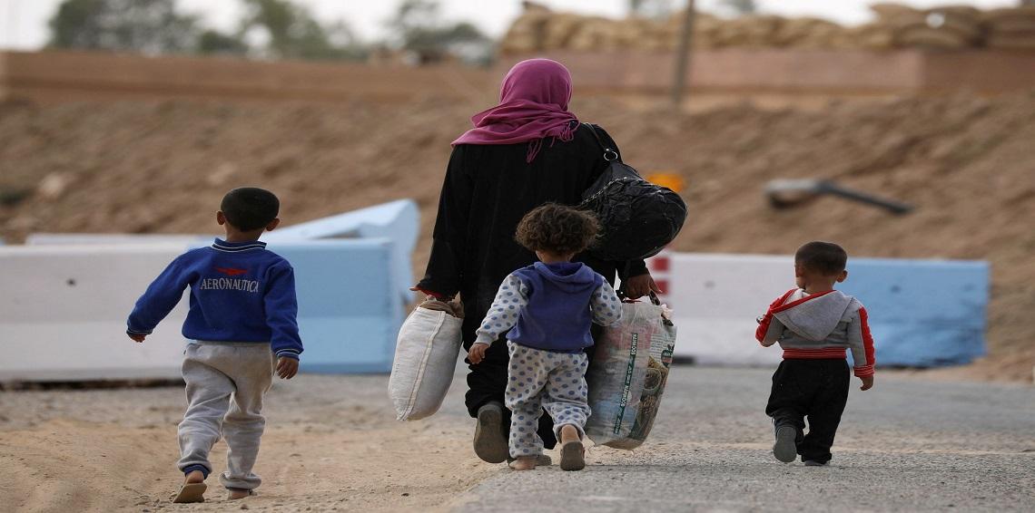 صورة الحسكة..نزوح 200 مدني من مناطق داعش نحو قسد