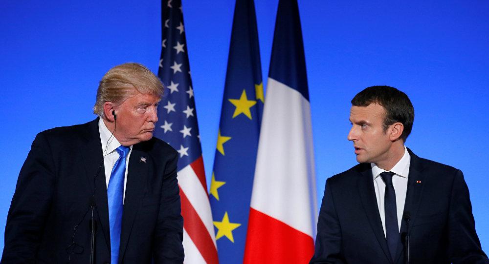 صورة ترامب وماكرون يدعوان لتسوية سياسية في سوريا