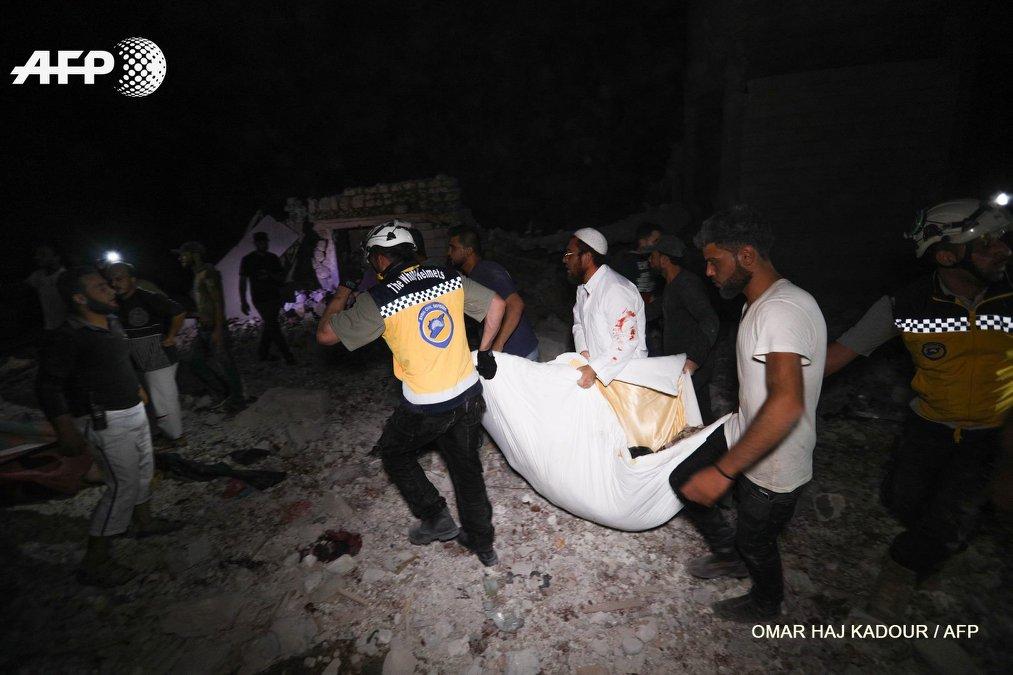 صورة ارتفاع حصيلة المجزرة في إدلب لـ 45 ضحية