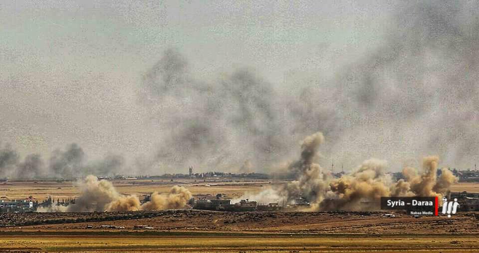 صورة قصف النظام وروسيا يقتل 16 مدنيا في درعا