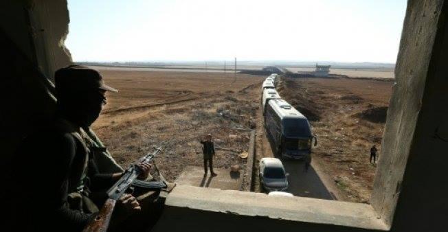 صورة دخول حافلات لإجلاء سكان من كفريا والفوعة بإدلب
