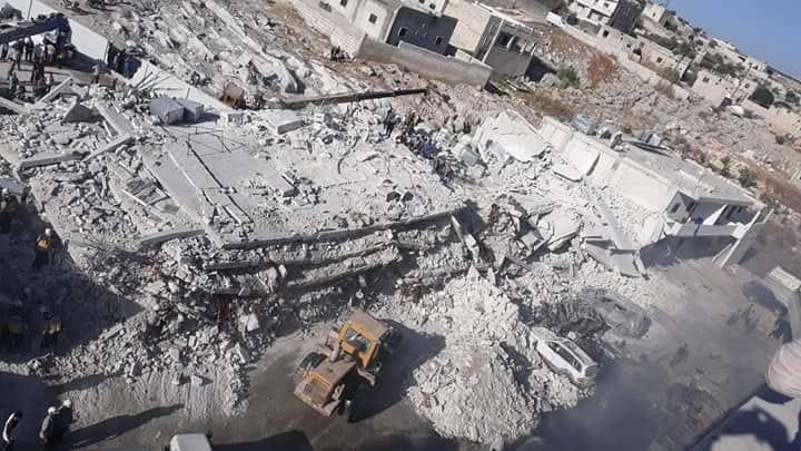 صورة إدلب.. انفجار مستودع أسلحة يخلف فاجعة