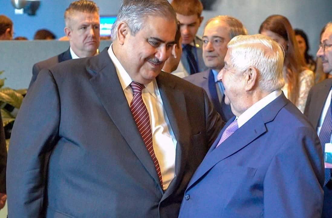 صورة شاهد: لقاء حميم بين وزيري خارجية البحرين والنظام السوري