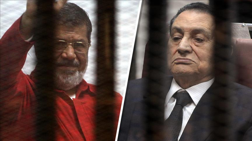 صورة حسني مبارك ومرسي وجهاً لوجه