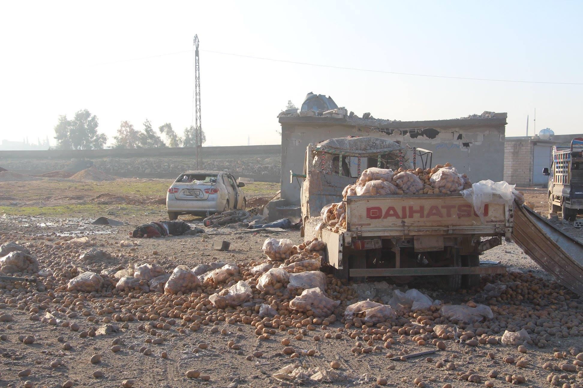 صورة قصف جوي روسي على إدلب السورية