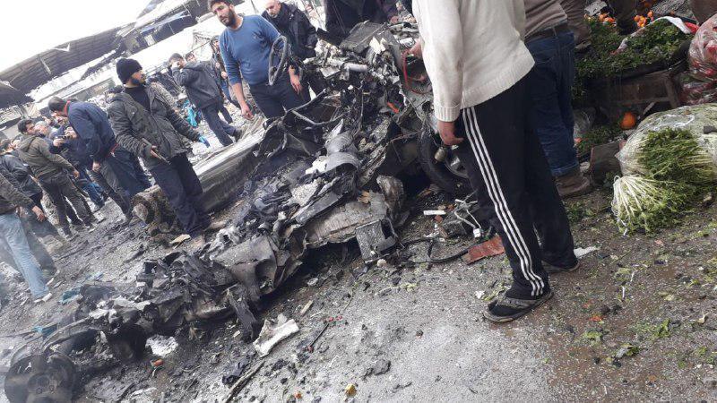 صورة ضحايا وجرحى بمفخخة استهدفت سوق شعبي في عفرين
