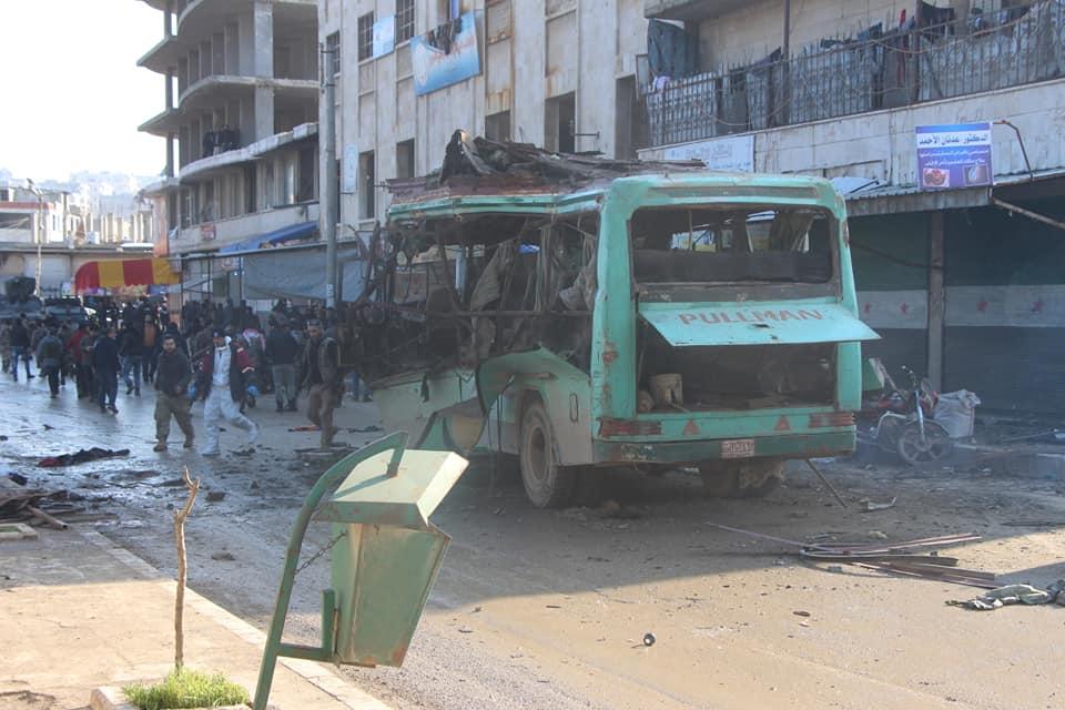 صورة الصور الأولية لتفجير حافلة ركاب في عفرين