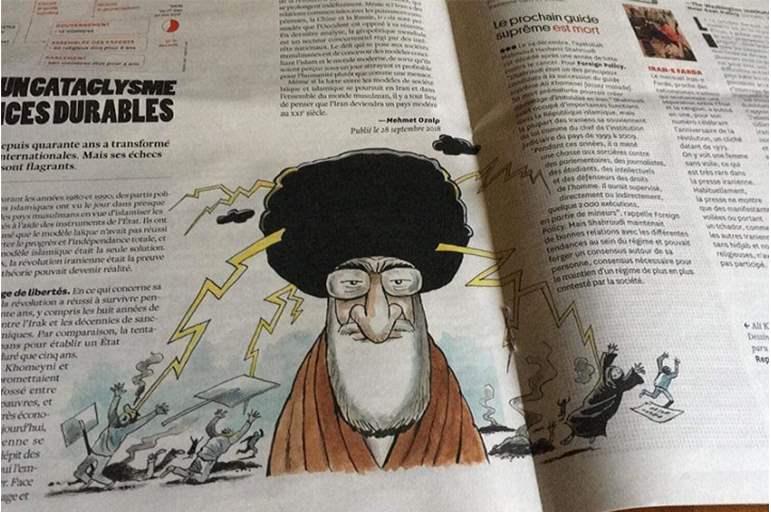 """صورة غضب لبناني بسبب حجب كاريكاتير ينتقد """"خامنئي"""""""