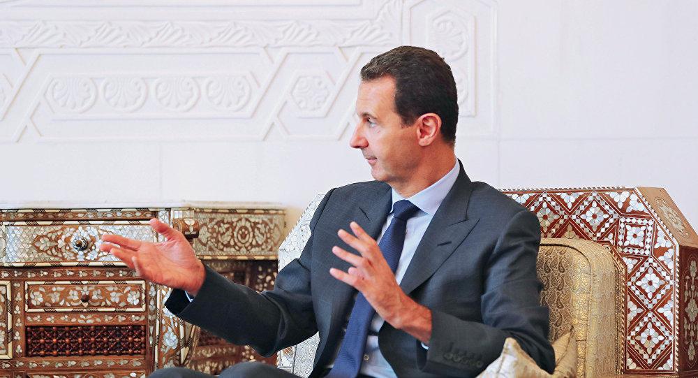 صورة بشار الأسد يتحدث عن تقسيم سوريا