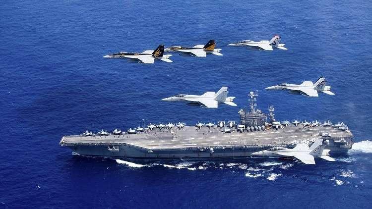 صورة سفن أمريكية ضاربة تدخل بحر العرب