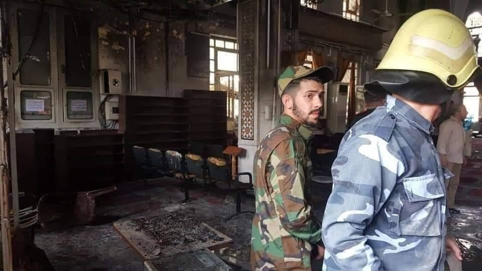 صورة حريق ضخم يلتهم جامع الفاروق بدمشق- فيديو وصور