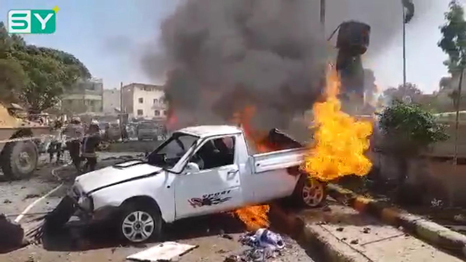 صورة انفـ.ـجاران في اعزاز وإدلب تحت النار