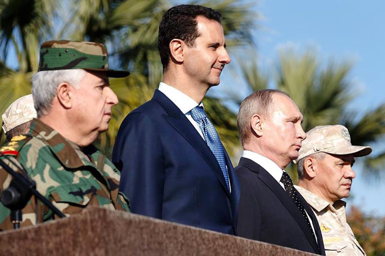 صورة رقبة بشار الأسد بقبضة بوتين